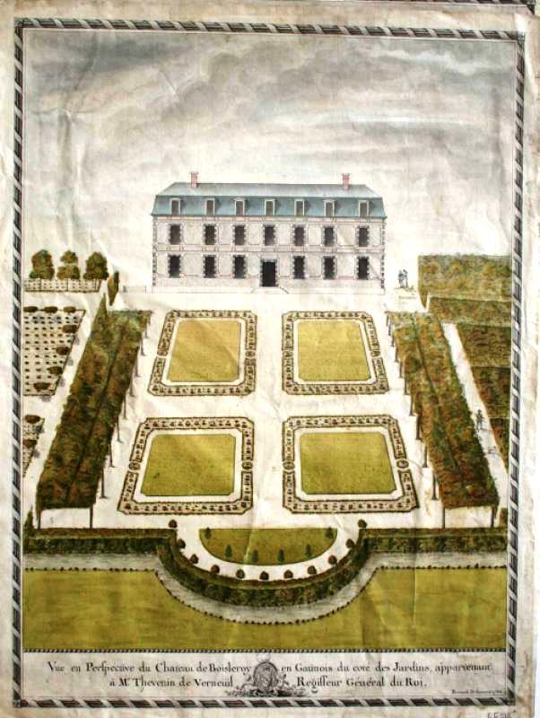 Dessin des jardins du château de Bois-le-Roi